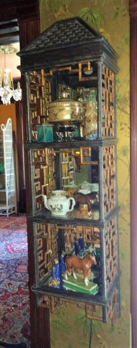 Maitland Smith Wall cabinet with nice items