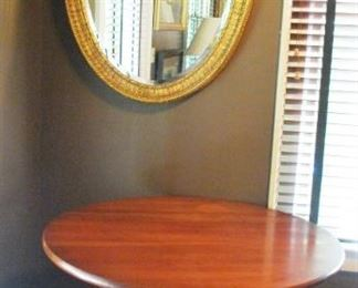 Nice wood table and wall mirror