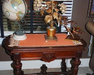 Nice antique table with globe and lamp