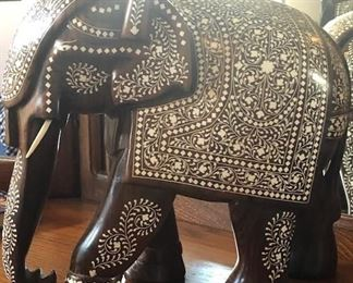 Large elephant figure carved from rosewood