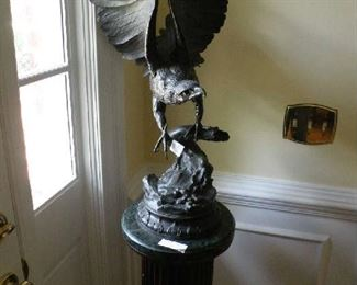 Bronze eagle statue by the French artist J. Moigniez