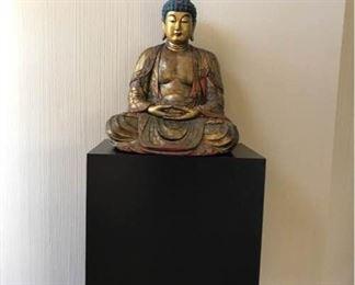 Stunning Wooden Buddha Figure with Base Meiji Period