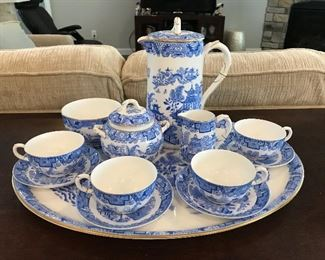 Royal Worcester fine porcelain coffee set. Full service for four with tray.