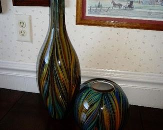 Murano Large Cased Art Glass Vase Hand-blown Multi-color