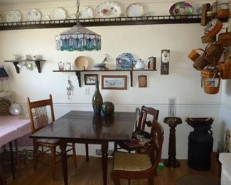 assorted chairs / table / more dishes