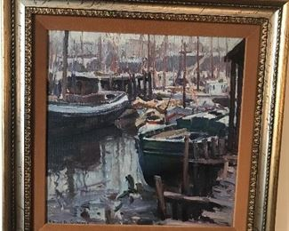 """Emile Gruppe oil on canvas titled """"Rainy Day"""". Measures approx 16""""x16""""."""