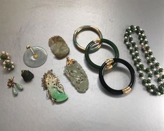 Jade, Gold, and onyx.