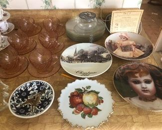 pink depression glass, doll collector plates