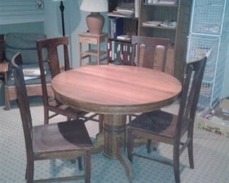 antique pedestal table w/4 chairs