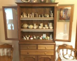 antique cabinet, Belleek china, misc collector items