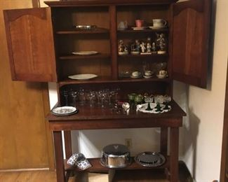 antique hutch, antique German stemware, Hummells