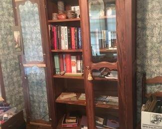 antique bookcase, books