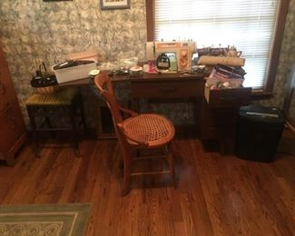 Brother sewing machine and cabinet, sewing notions