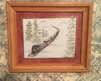 Train, china painted on tile