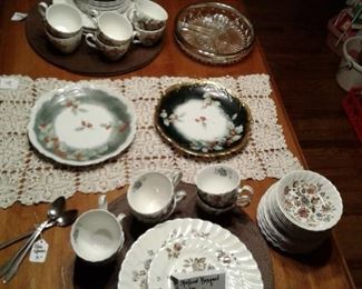 dishes and drop leaf table w/4 chairs and 2 leaves