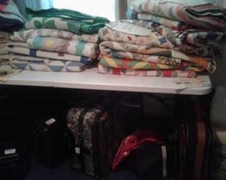 handmade quilts and luggage, Samsonite