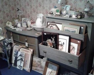 dresser and chest of drawers, artwork