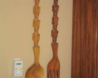 MCM wood spoon and fork