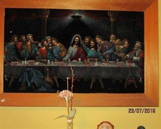 Large velvet Last Supper framed art
