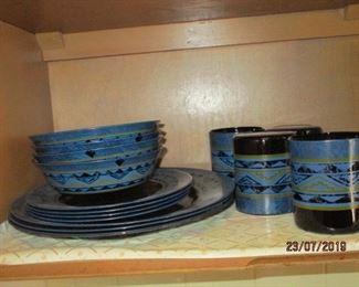 Blue Arcoroc dinner set