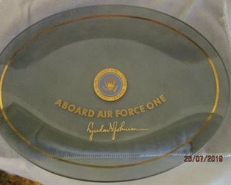 SIGNED PRESIDENT JOHNSON AIR FORCE ONE PLATE