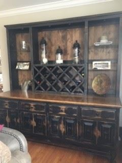 Available for PreSale---$1600.00                                                   Wrought Iron & Rustic Wood Side Board/Down Lights/Wine Rack/Glass Shelves/Great Storag