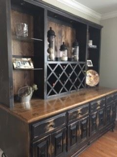 Available for PreSale---$1600.00                                                   Wrought Iron & Rustic Wood Side Board/Down Lights/Wine Rack/Glass Shelves/Great Storage