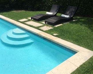 Bronze resin wicker chaise patio lounges