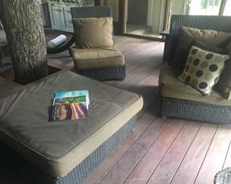 Espresso resin faux wicker large scale 4-piece sectional/sofa, large square ottoman, with cushions
