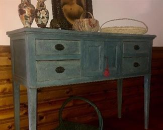 Southern Primitve sideboard with original blue paintm