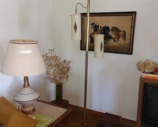 Living Room:  MCM Hanging Pole Lamp, MCM Side Table, Table Lamp