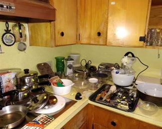 Kitchen:  Vintage Mixer, Toaster, Mixing Bowls, Cooking Stuff