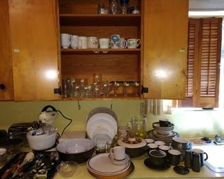 Kitchen:  Glasses, Cups, Terra Pyrex Bowls, Dishes