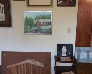 Basement Room Left:  Oil  Paintings, Start of a collage of Parthenon