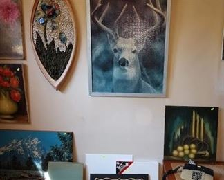 Basement Room Left:  Oil Paintings,  Mosaic Picture