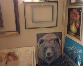 Basement Room Left:  Oil Paintings, Picture Frame