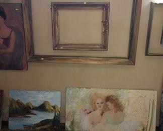 Basement Room Left:  Oil Paintings, Frames