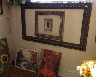 Basement Room Left: Frames, Oil paintings