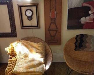 Basement Room Left:  Oil Paintings, Rattan Rocker, Clock