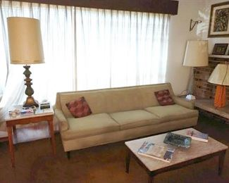 Living Room:  MCM Side Tables, Couch, Coffee Table,