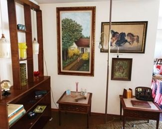 Living Room:  Nice MCM Room Divider,  MCM Side Table, Pictures