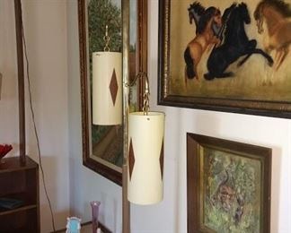 Living Room: Great MCM Pole Lamp, Horse Picture