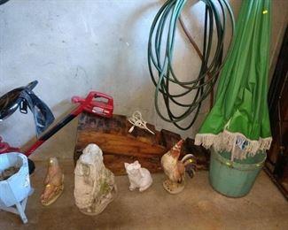 Garage:  Yard Art Chicken, Cat, Other Stuff