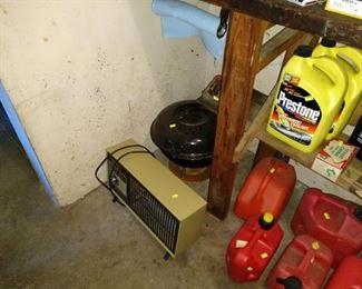 Garage:  Heater, Gas Cans