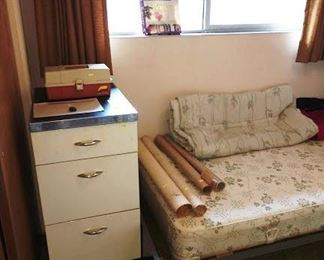 2nd Bedroom Left:  Large File Cabinet, Paint Box w/Oil Paint, Brushes,