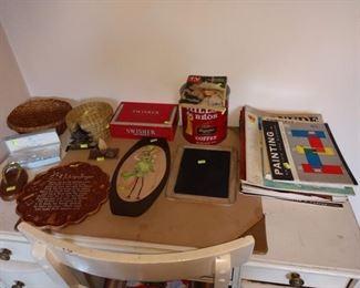 2nd Bedroom Left:   Art Books, Blue Garter in Box,