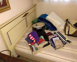 1st Bed Room Left:  Bed,  Scarves,