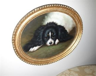 Antique oil painting of dog