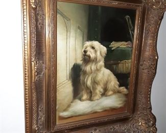 Oil painting family dog