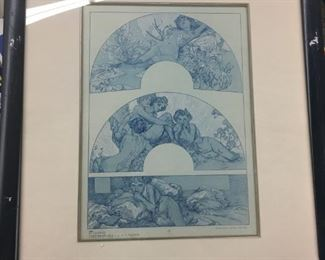 FIGURES DECORATIVES Plate 10 by Alphonse Mucha, with COA